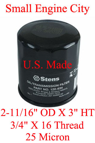 120-334-JD 118 Oil Filter Used on Many John Deere Models with Kawasaki Engines